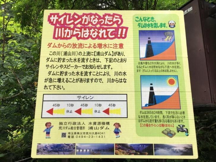 ダムのサイレン注意の掲示板