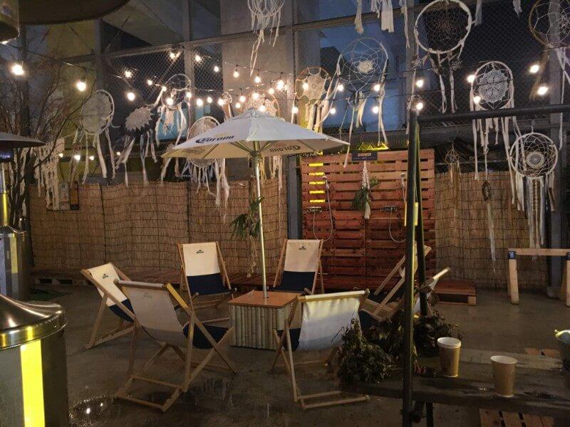 CORONA WINTER SAUNA SHIMOKITAZAWAの外気浴スペース