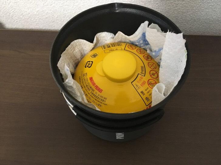 プリムス ライテックトレックケトル&パンの中にOD缶ガスを収納