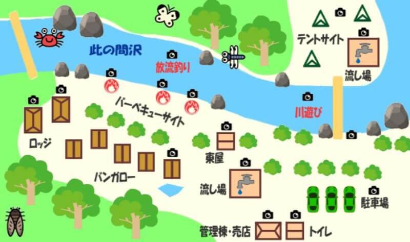 このまさわ渓流園の地図