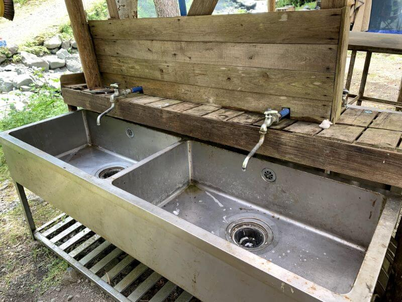 このまさわ渓流園の洗い場