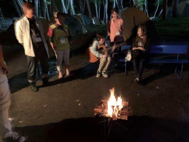 ゆとりキャンプの焚火タイム